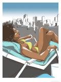 Woman Suntanning on Rooftop Art