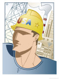 "Man Wearing Hard Hat in Front of a Factory, ""USA"", Grouped Elements Prints"