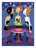 Three Women Sharing a Large Drink at a Bar Affiches