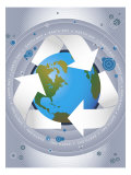 Earth with Recycle Sign Prints