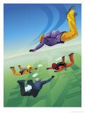Four Skydivers in Mid-Air Affiches