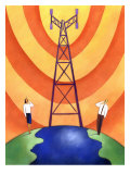 Business People on Phones by Cell Phone Communication Tower Affiches