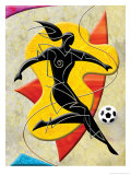 Soccer Player Kicking Ball Posters