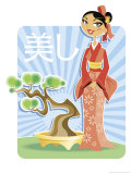 Japanese Woman Standing Near Bonsai Tree Posters