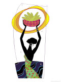 An African Woman Holding a Basket of Corn in the Air Posters
