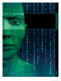 Texture, Solid Model Face with Binary Code Posters