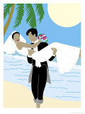 Groom Carrying Bride Along the Ocean, Grouped Elements Affiches