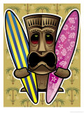 Tiki Statue Holding Surfboards Prints