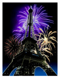 Fireworks Behind Eiffel Tower, Bastille Day Posters