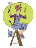 Woman Snapping Her Fingers Sitting on Top of a Step Ladder Ready to Paint, Grouped Elements Posters