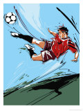 Man Kicking a Soccer Ball Affiches