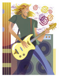 An Abstract of a Caucasian, Long-Haired Male Playing the Guitar in Front of Speakers Poster
