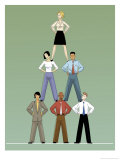 Businesspeople Doing Pyramid Poster