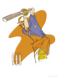 A Man Swinging a Cricket Bat Giclee Print