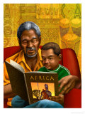Man and Boy Reading Book About Africa Poster