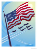 American Flag with Planes Flying in the Sky Posters