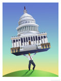 Man Lifting Capitol Building Posters