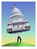 Man Lifting Capitol Building Posters
