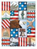 Texture, Patriotic Patchwork Posters