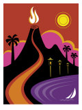 Volcano, Ocean and Lights in Hawaii Affiches