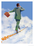 Businessman on Cellphone Walking a Tightrope Posters