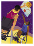 People in Wheelchairs Playing Basketball Affiches