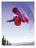 Practicando snowboard Posters