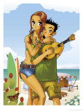 Surfer Couple Posters