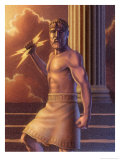 Zeus Holding Lightning Bolts Art