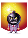 Angry Businessman with Bomb Head Art