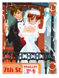 Newlyweds on the Back of a Trolley Print