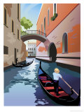 A Gondola Going Down a Waterway in Venice Art