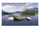 A Bald Eagle Flying Over a Lake Affiche