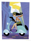 A Woman Riding a Scooter Art