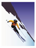 Downhill Skier Giclee Print