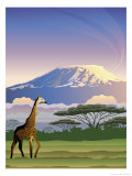 A View of Mt. Kilimanjaro in Africa Prints