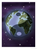 Earth with Ying and Yang Symbols Posters
