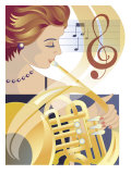 An Abstract of a Caucasian Female Symphony Musician Playing the French Horn Prints