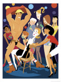 Male Stripper at a Bachelorette Party Prints