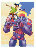 Boy on Shoulder of Robot Affiches