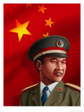 Chinese Soldier in Uniform, Flag Background Prints