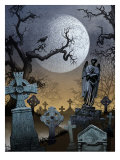 A View of a Spooky Graveyard Posters