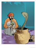 An Indian Snake Charmer and a Cobra Prints
