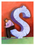 Man with Cane Sitting on Stone Dollar Sign Prints