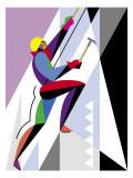 An Ice Climber Scaling an Incline Posters