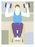 Man in a Wheelchair Working out with Hand Weights Poster