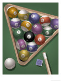 Pool Rack with International Money Symbols, Grouped Elements Giclee Print