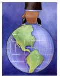 Businessman's Hand Carrying World Globe by Handle Affiches