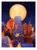 Autumn Leaves Floating Against City Skyline Prints