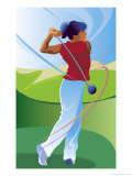 A Female Golfer on the Follow-Through of Driving a Ball Affiche